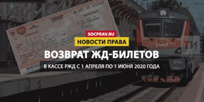 Железнодорожные билеты можно вернуть до 1 июня без комиссии