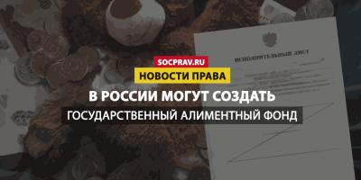 В России могут создать Государственный алиментный фонд