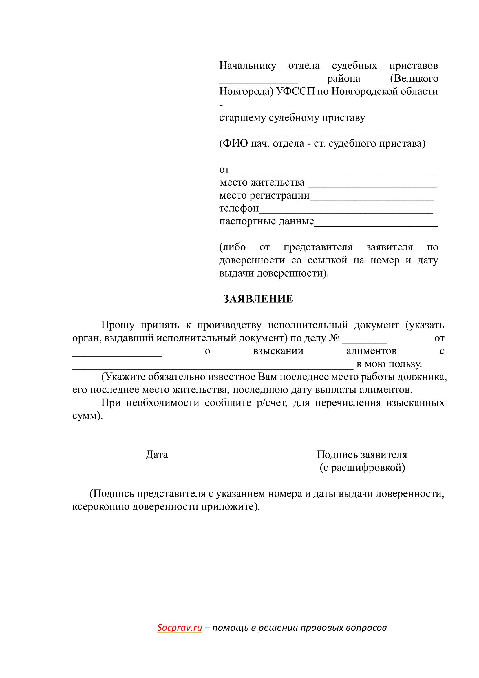 Заявление о принятии к производству исполнительного документа