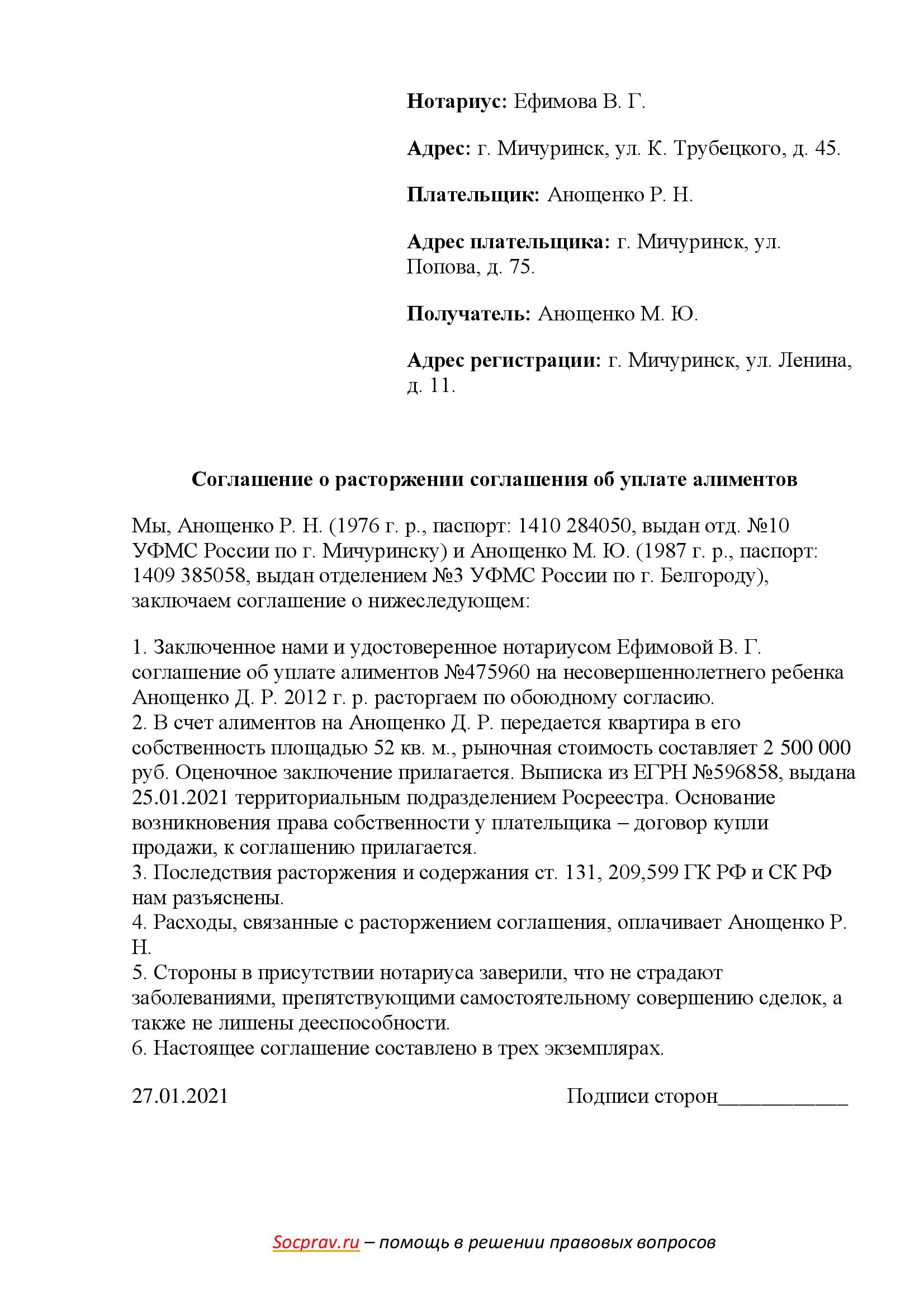 Соглашение о расторжении соглашения об уплате алиментов