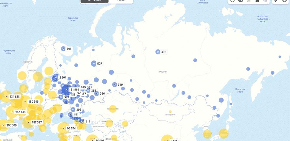 Карта распространения коронавируса в России и соседних странах