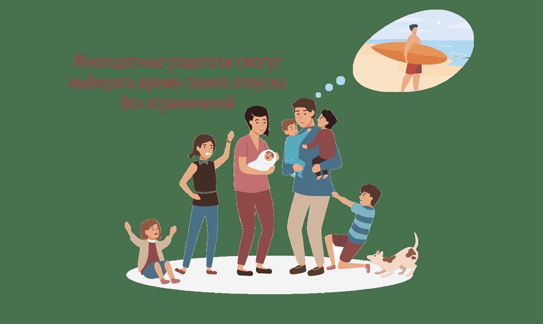 Многодетные родители смогут выбирать время своего отпуска без ограничений