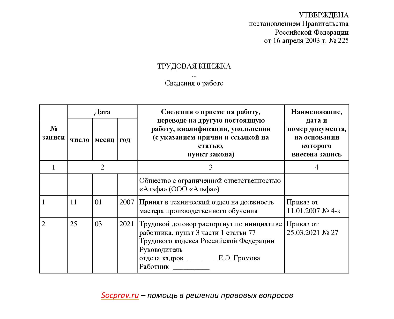 Запись в трудовой об увольнении день в день