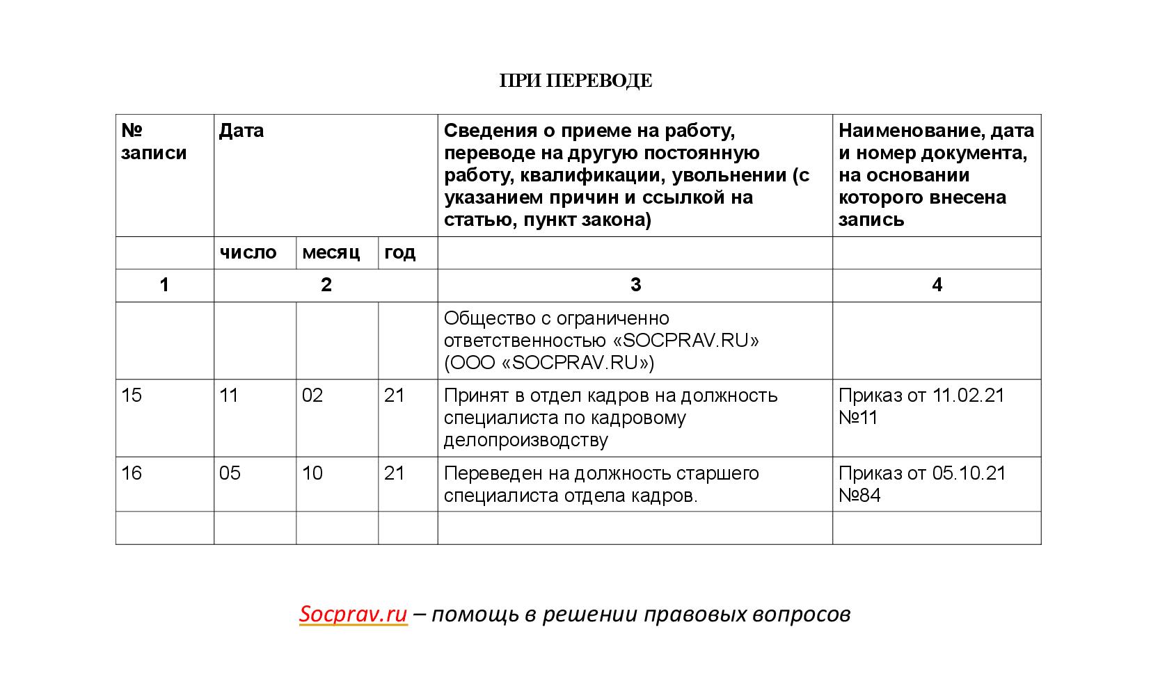 Запись в трудовой о внутреннем переводе сотрудника