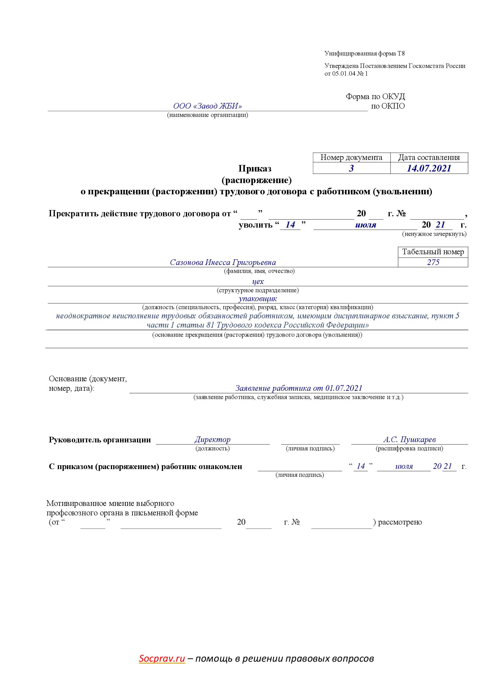 Приказ о прекращении трудового договора с работником (неисполнение трудовых обязанностей)